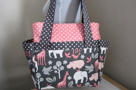 Two-Way  Diaper/Tote in M Miller's Zoology-Ready to Ship-Priority Mail in US