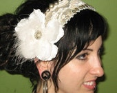 Tribal Bellydance Elegant Headband w/ White Lace and Mixed Metals