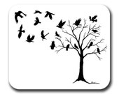 Crows Flying From Tree Bird Raven Art Mouse Pad