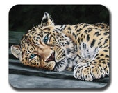 Leopard Art Mouse Pad - Our Eyes Met Color