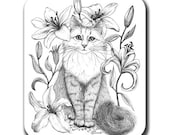 Lily Cat Art Mouse Pad