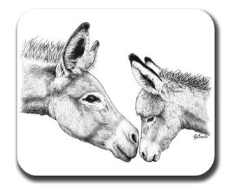 Burro Mom And Baby Donkey Mule Art Mouse Pad