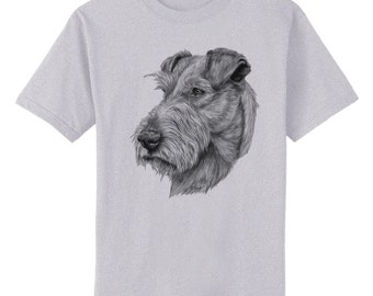 Irish Terrier Dog Art T-Shirt Youth and Adult Sizes