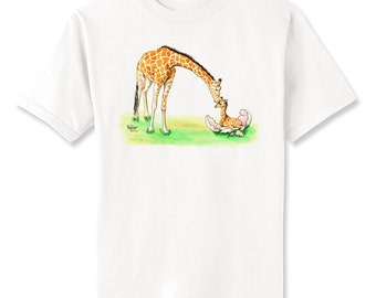 Giraffe Just Hatched Art T-Shirt Youth and Adult Sizes