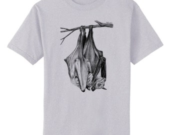Bat Snuggles Art T-Shirt Youth and Adult Sizes