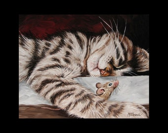 Cat and Mouse Buddies 8 x 10 Signed Giclee Fine Art Print