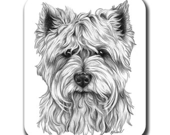 Westie Face West Highland Terrier Dog Art Mouse Pad