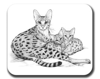 Savannah Cat Mom and Kittens Art Mouse Pad