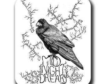 Poe's Raven Bird Art Mouse Pad