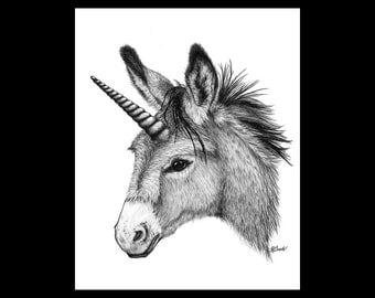 Unidonk Donkey Unicorn Burro Mule 8 X 10 Signed Giclee Fine Art Print