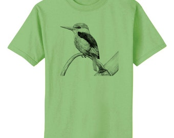 Kingfisher Bird Art T-Shirt Youth and Adult Sizes