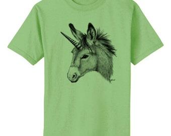 Unicorn Donkey Burro Mule Art T-Shirt Youth and Adult Sizes
