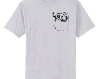 Lemurs in Pocket Art T-Shirt Youth and Adult Sizes