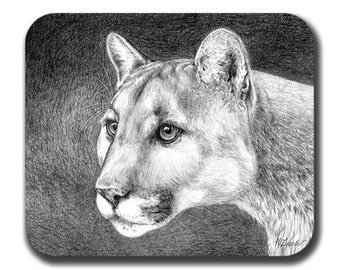 Night Cougar Art Mouse Pad