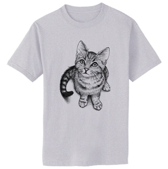 Curious Kitten Cat Art T-Shirt Youth and Adult Sizes