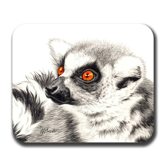 Bright Eyed Lemur Art Mouse Pad
