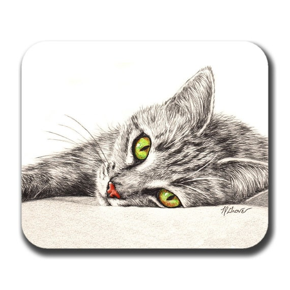 Green Eyed Tabby Cat Lover Art Mouse Pad