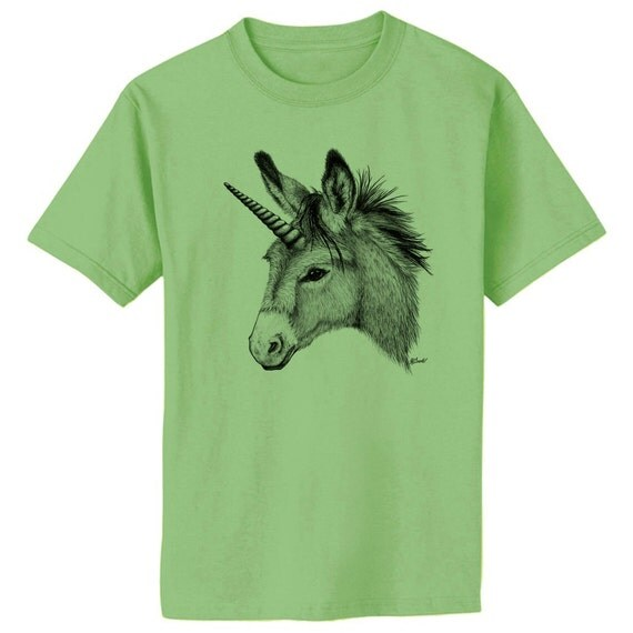 Unicorn Donkey Burro Mule Art T-Shirt Youth and Adult Sizes