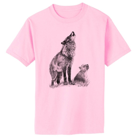 Wolf Mom and Cub - Howling Lessons Art T-Shirt Youth and Adult Sizes