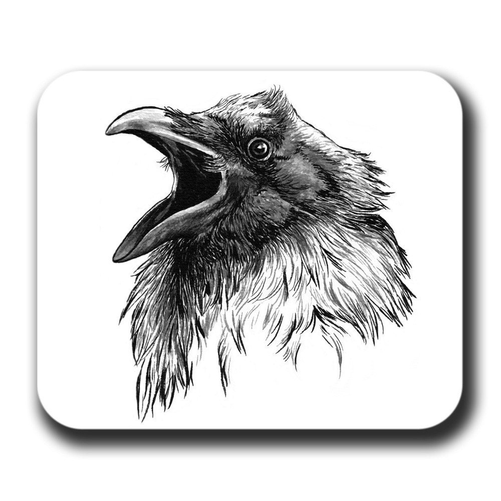 Raven face cawing bird crow art mouse pad by artbyljgrove for Ravens face tattoos