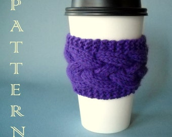 KNITTING PATTERN - Lattice Cable Coffee Sleeve