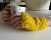 Fingerless Gloves Yellow  - Knitted in Acrylic Wool