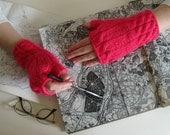 Fingerless Gloves Knitted - Pink Honeysuckle Merino Wool Blend