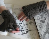 grey fingerless gloves - knitted in acrylic wool