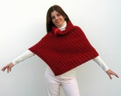 red poncho - knitted in merino wool - zippered