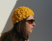 SALE - Woman Summer Hat - Beanie Knit in Yellow Cotton