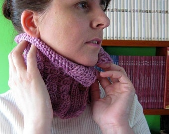 Knitted Neck Warmer, Chunky Cowl, Lilac Wool Knit, Winter Accessories, Neck Warmer, Womens Cowls, Cable Knit Cowl, Short Scarf, SALE