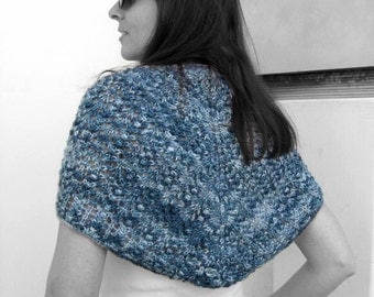SALE - Lace Shawl Knit in Variegated Blue Wool - Triangle