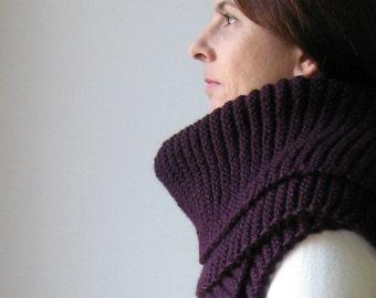 Aubergine Scarf, Hand Knit Scarf, Dark Purple Wool, Winter Scarf, Long Scarf, Mens Scarf, Womens Scarves, Merino Blend Wool, Fashion Scarves