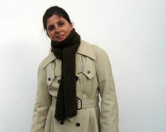 Llama Scarf Brown Hand Knitted - Man Scarf - Long Wrap
