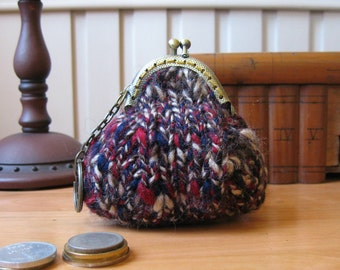 Tweed Navy Burgundy Wool Small Coin Purse Keychain, Cute, Clasp, Hand Knit, Kiss Lock, Knitted Pouch, Change Money Holder, Gifts Under 20