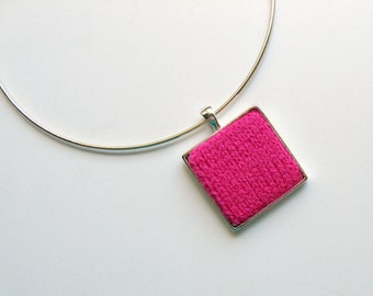 Knit Jewelry: Square Pendant in Hot Pink Wool