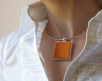 Orange Yellow, Square Pendant, Knitted Jewelry, Choker Pendant, Statement Choker, Cute Necklace, Womens Necklace, Textile Jewelry