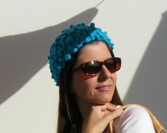 Woman Summer Hat, Turquoise Beanie, Spring Summer Toque, Knit Beanie, Cotton Knit Hat, Cyan Toque, Chunky Knit Hat, Basic Hat, Cute Hat