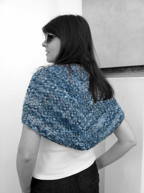 Blue Triangle Shawl Hand Knit Scarf, Lace Triangle Shawl, Knit Shawl, Wrap Scarf, Hand Knit Shawl, Lace Triangle, Wool Shawl, SALE