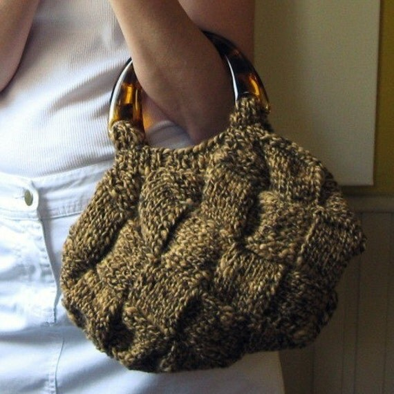 brown bag - knitted in blend wool with acrylic handles