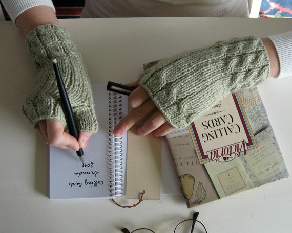 Fingerless Gloves Knitted in Beige Merino Blend Yarn