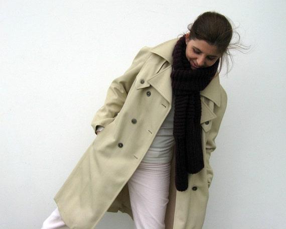 Aubergine Merino Blend Wool Scarf Knit, Hand Knit Item, Dark Purple, Winter Long Scarf, Wrap Shawl Scarf, Mens Scarf, Womens Fashion Scarves