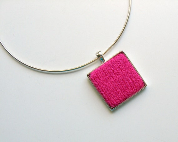 Square Pendant, Hot Pink Pendant, Minimalist Jewelry, Choker Necklace, Geometric Jewelry, Modern Pendant, Womens Necklace, Knit Jewelry