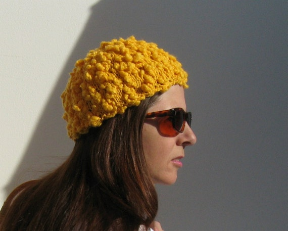 Yellow Beanie Cotton Knit Hat, Summer Accessories, Hand Knit Hat, Womens Beanie, Yellow Toque, Bobble Hat, Gifts For Her, Cotton Beanie SALE