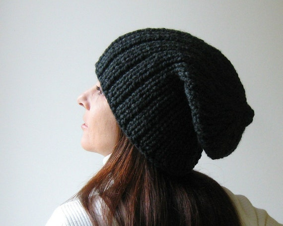 Beanie Hat Knitted in Charcoal Blend Wool