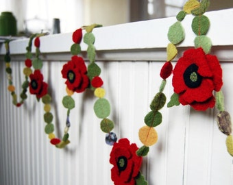 felted red poppy garland 10 feet