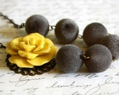 Asymmetrical Ruffled Mustard Yellow Rose Necklace Buy 3 Get 1 Free