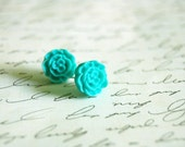 Aqua Flower Earrings Buy 3 Get 1 Free