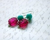 Turquoise and Pink Rose Earrings Buy 3 Get 1 Free