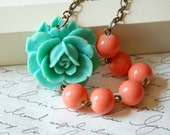 Asymmetrical Aqua and Orange Rose Necklace